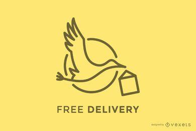 Plantilla de logotipo de entrega de cigüeña