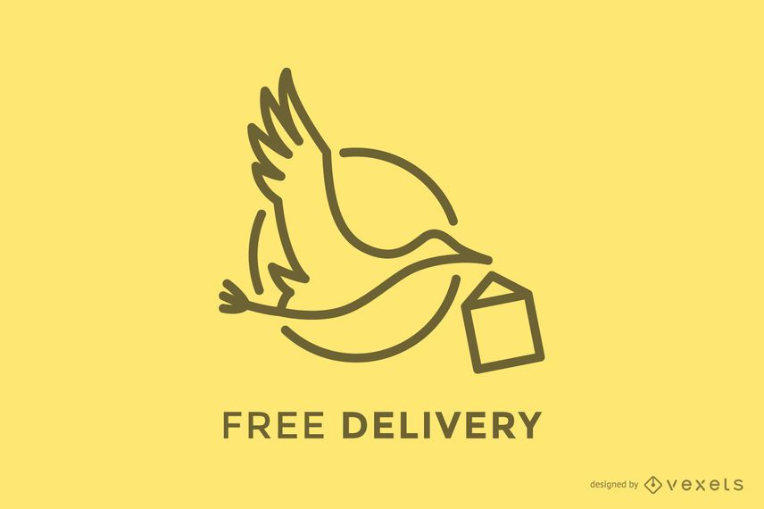 Stork delivery logo template