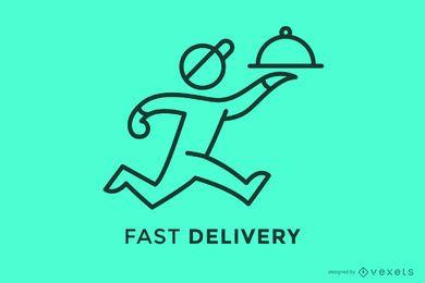 Plantilla de logotipo de trazo de entrega rápida