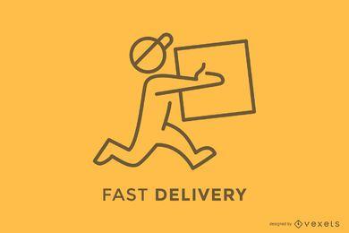 Lieferbote liefert Box-Logo