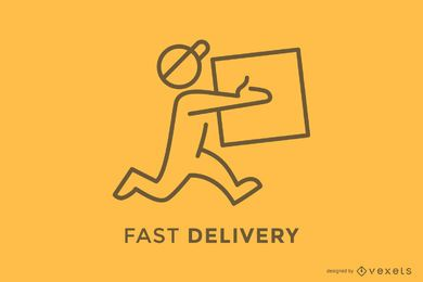 Repartidor, entrega, caja, logotipo