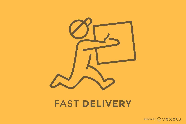 Deliveryman delivering box logo