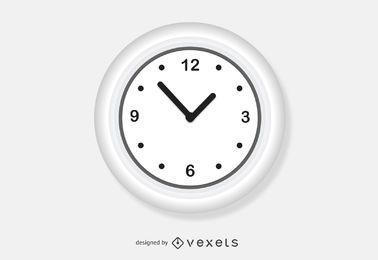 White wall clock vector