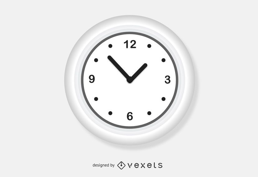 Vector de reloj de pared blanco