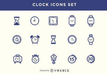 Iconos de reloj de trazo establecidos