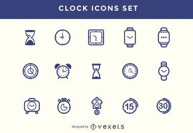 Stroke clock icons set