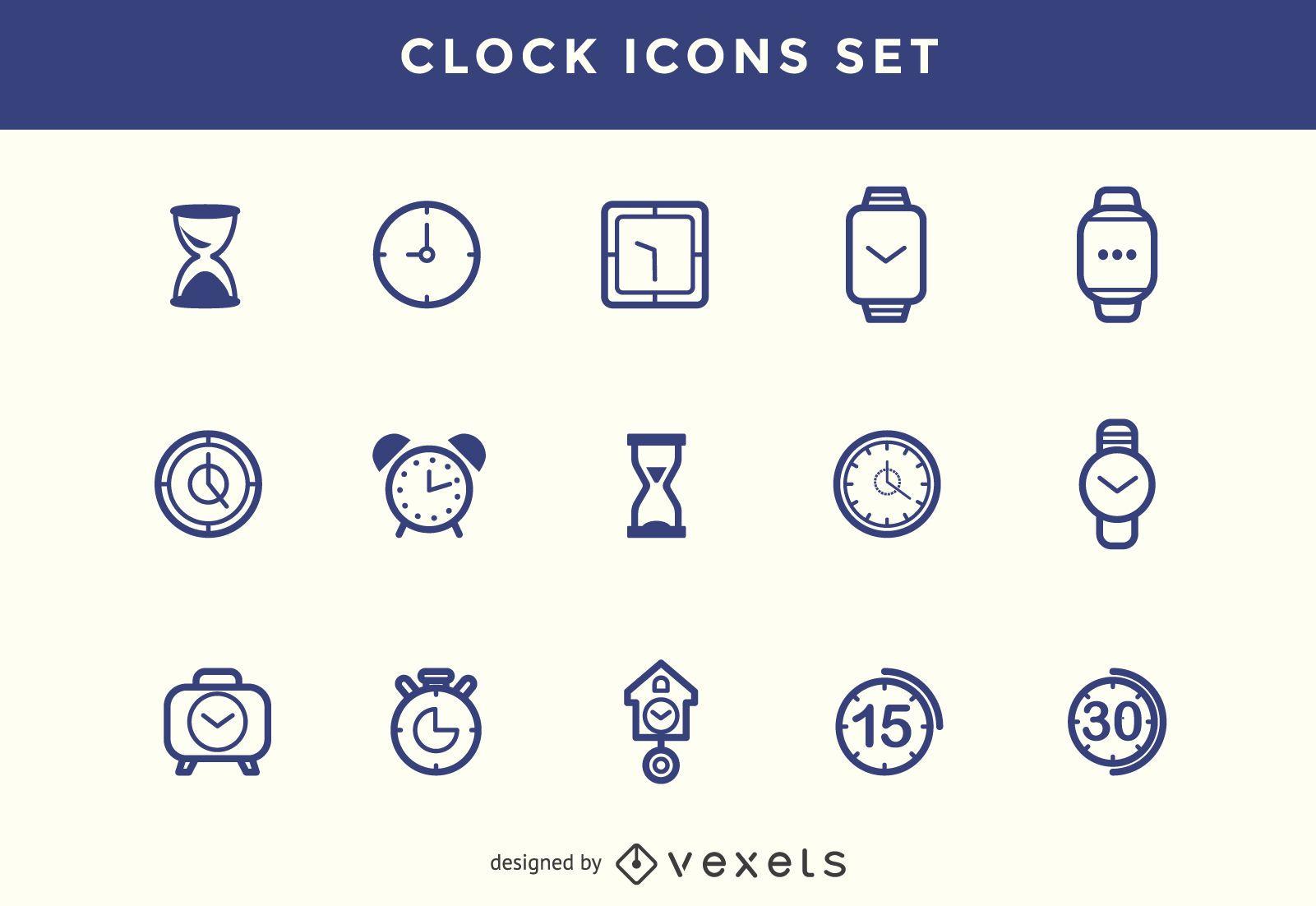 Stroke clock icons set