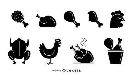 Conjunto de ícones de frango isolado