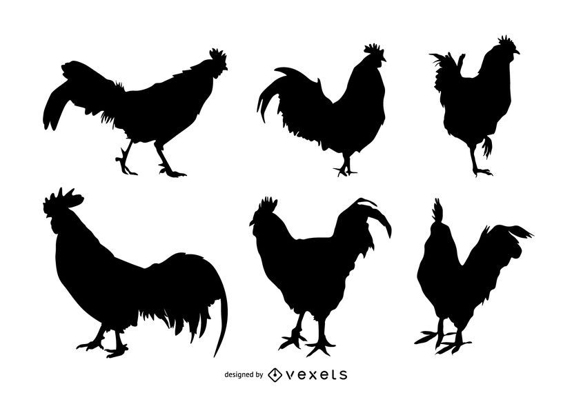 Rooster silhouette set