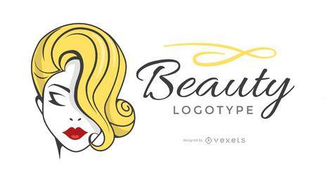 Modelo de logotipo de beleza de mulher