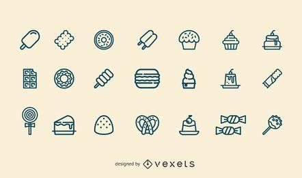 Conjunto de iconos de trazo de postre