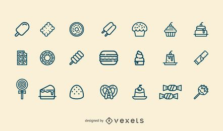Dessert stroke icon set