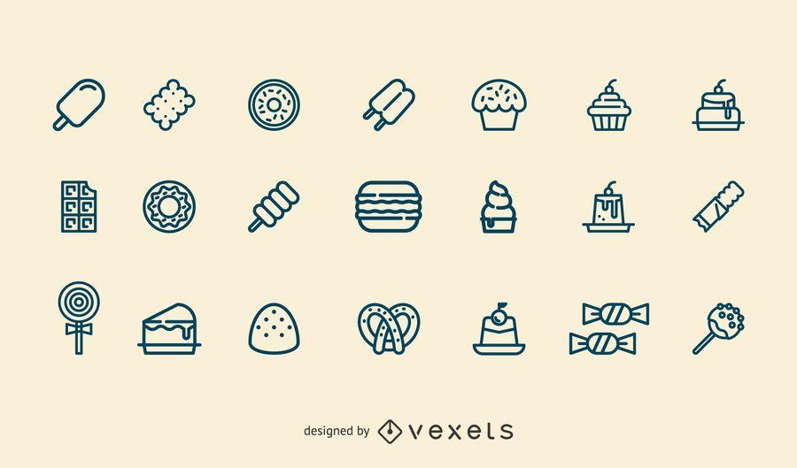 Conjunto de ícones de traço de sobremesa