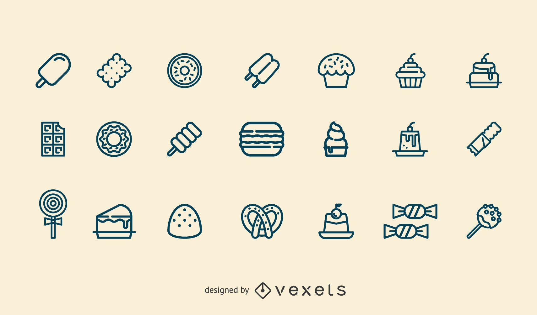 Dessert stroke icon set