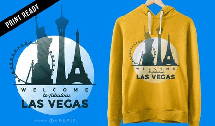 Projeto minimalista do t-shirt da skyline de Las Vegas