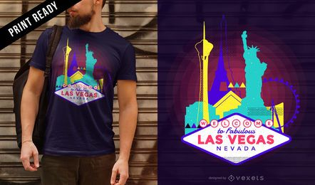 Diseño de camiseta de neón Las Vegas skyline