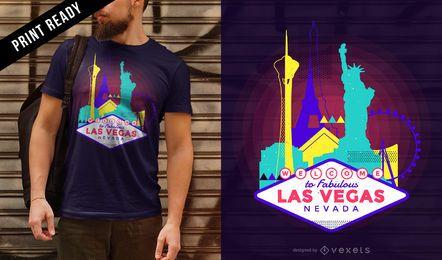 Diseño de camiseta neón Las Vegas skyline