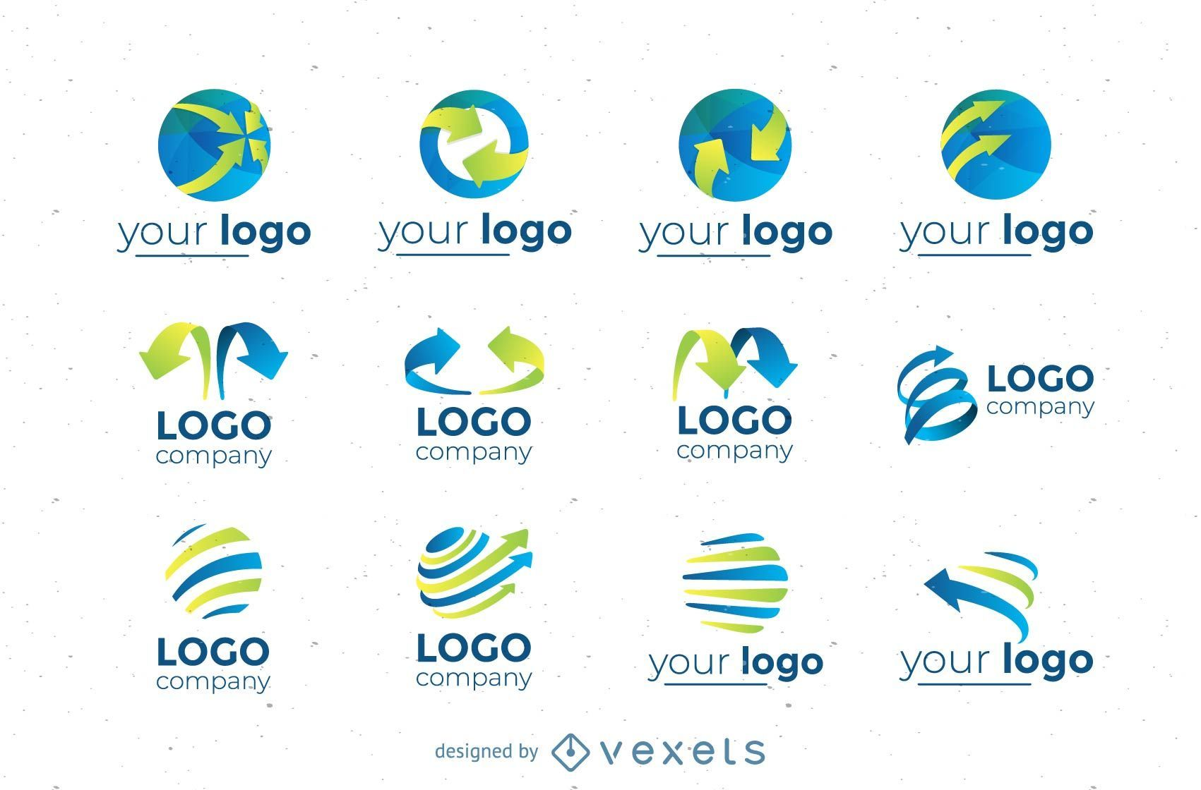 Coleção de conjunto de logotipos circulares