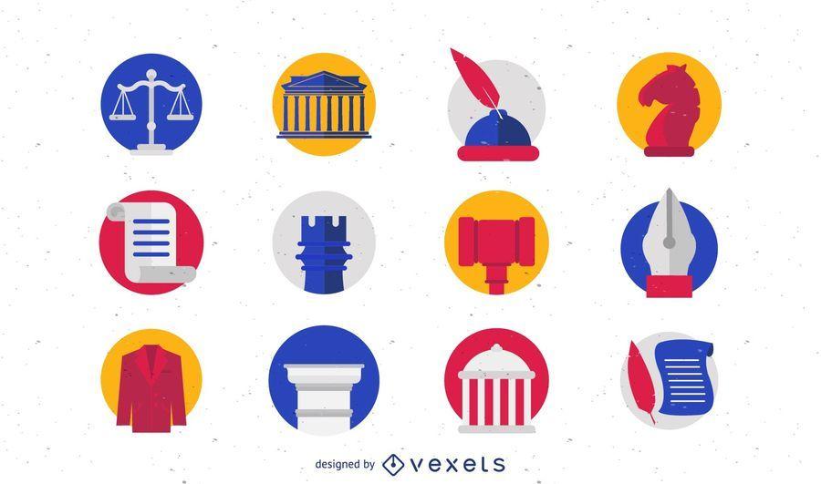 Conjunto de ícones e logotipo de lei