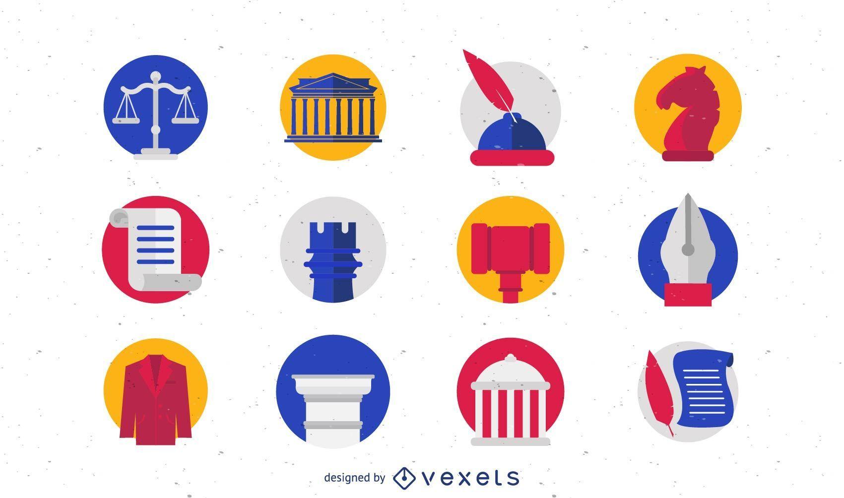 Conjunto de iconos y logotipos de ley