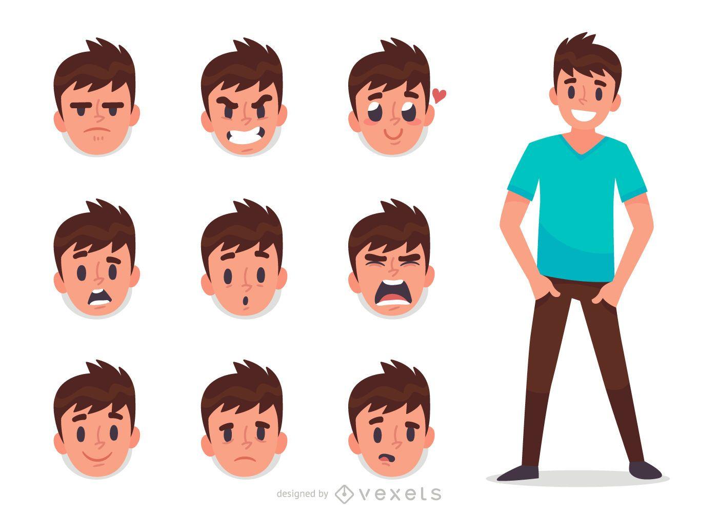 Conjunto de expresión facial de hombre