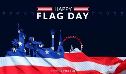 Skyline de dia de bandeira dos Estados Unidos