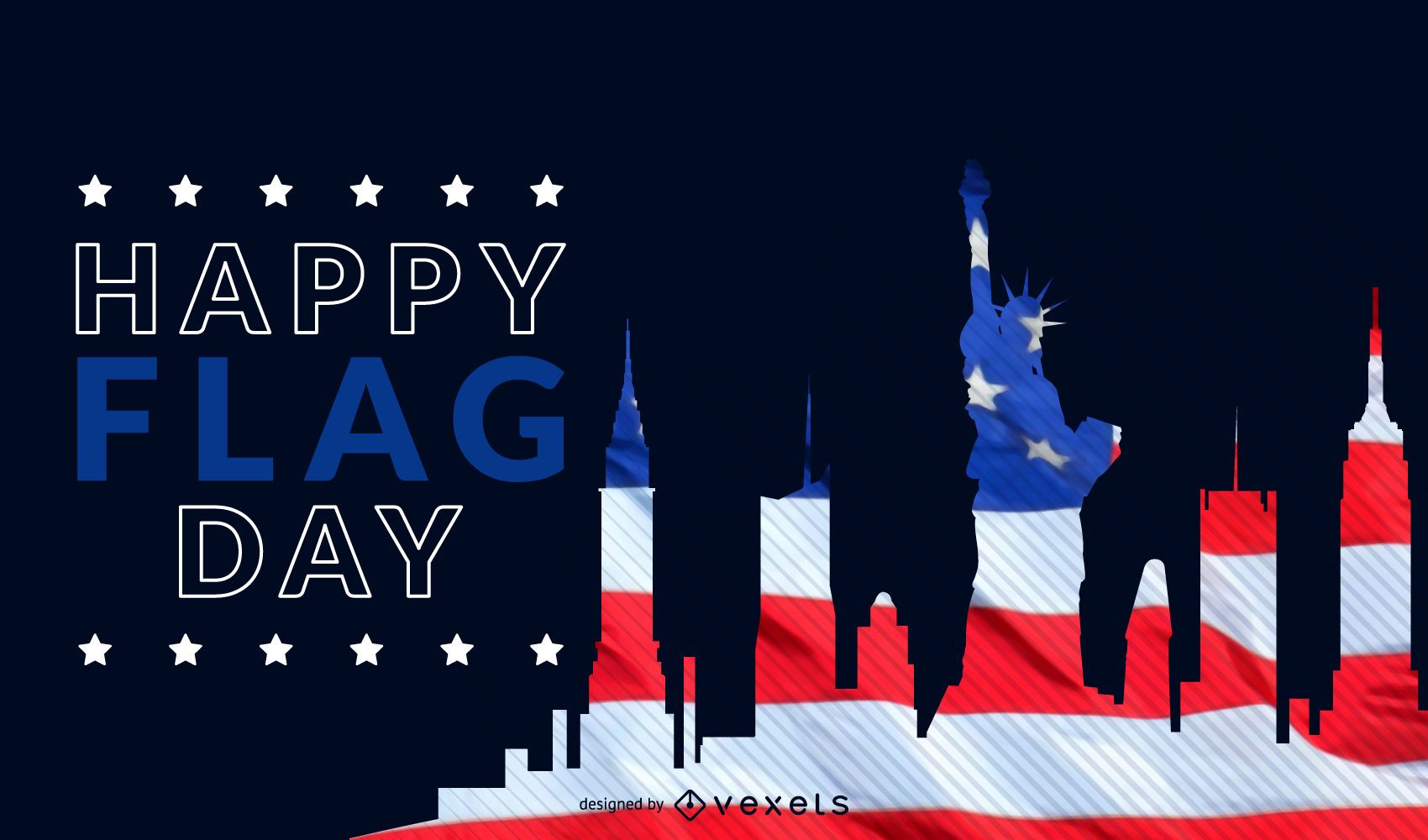 New York flag day skyline