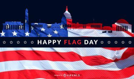 Skyline de dia de bandeira de Washington
