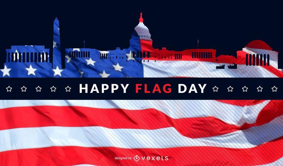 Horizonte de día de la bandera de Washington