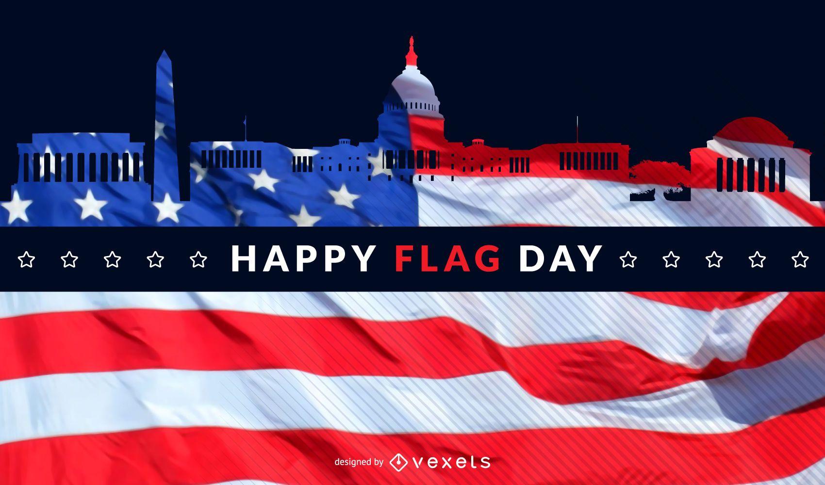 Washington flag day skyline