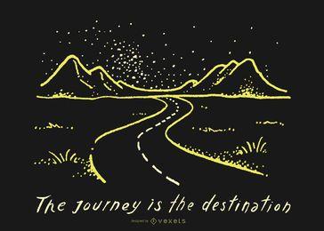 Doodle del camino del destino del viaje