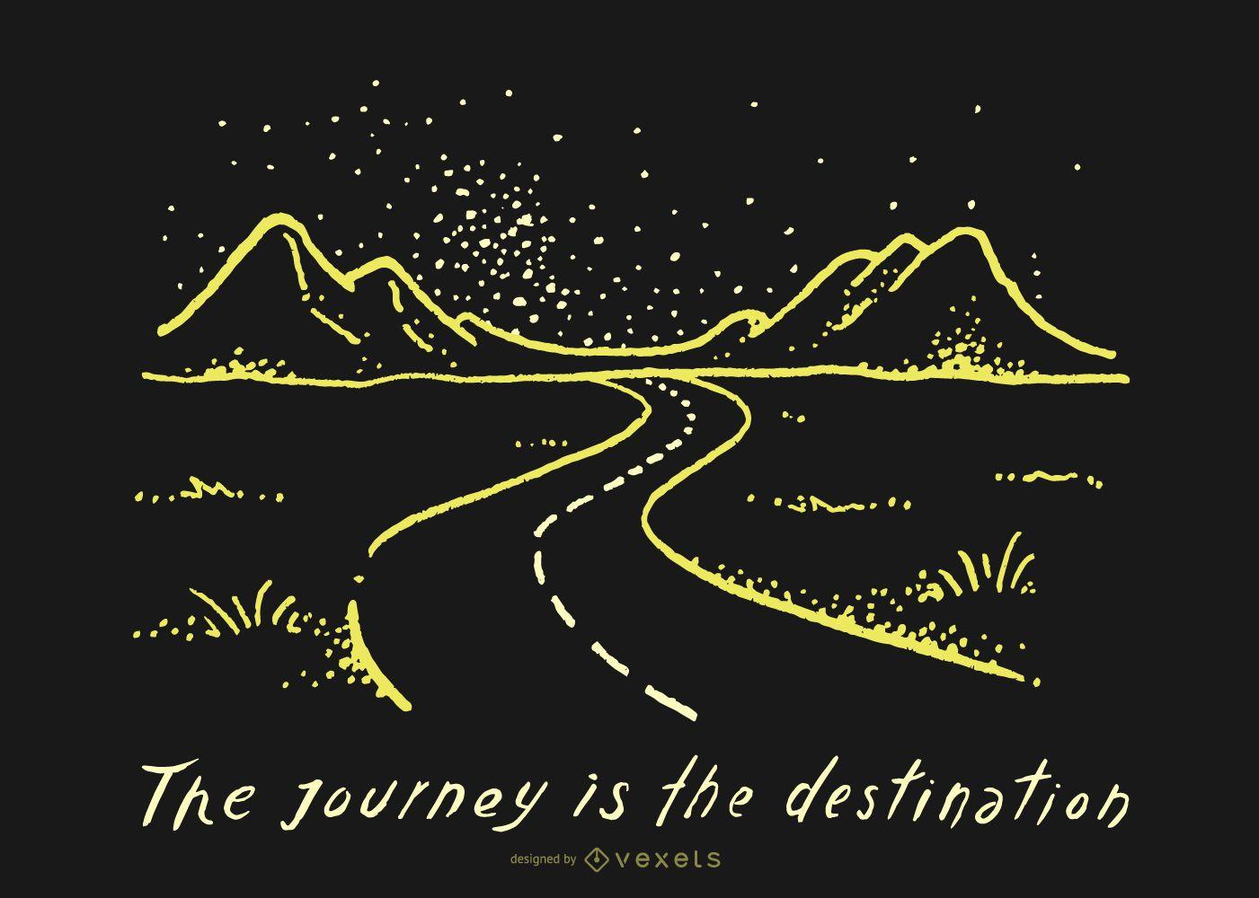 Doodle de camino de destino de viaje