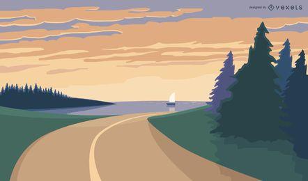 Ilustração da paisagem da estrada