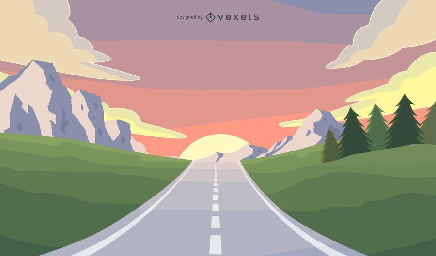 Ilustración de viaje por carretera