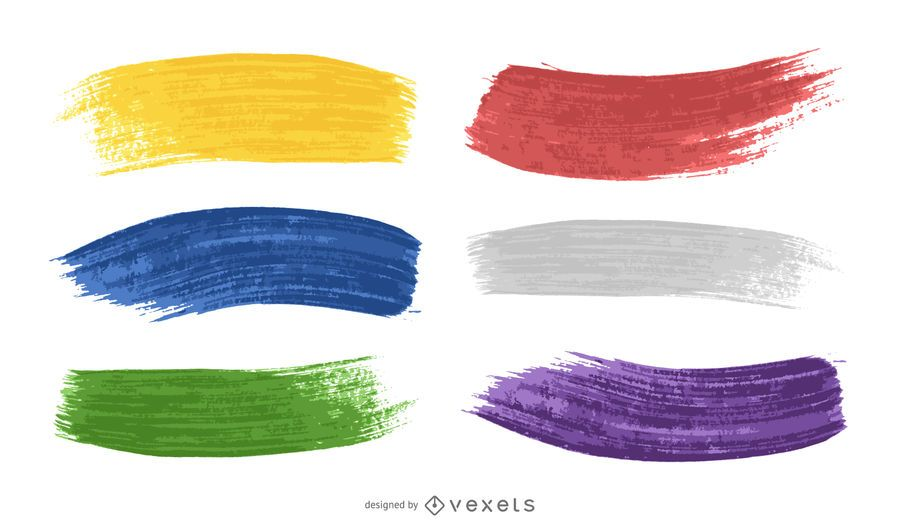 Colorful paint brush strokes set