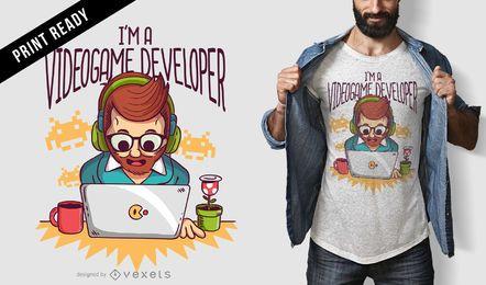 Diseño de camiseta de desarrollador de juegos.