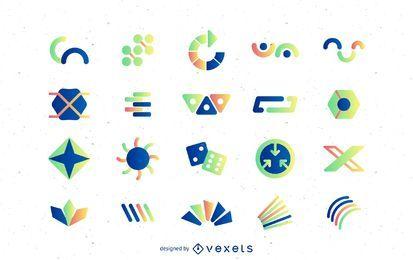 Modelos de logotipo abstratos com gradientes
