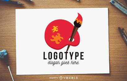 Pinsel und Palette Logo Vorlage