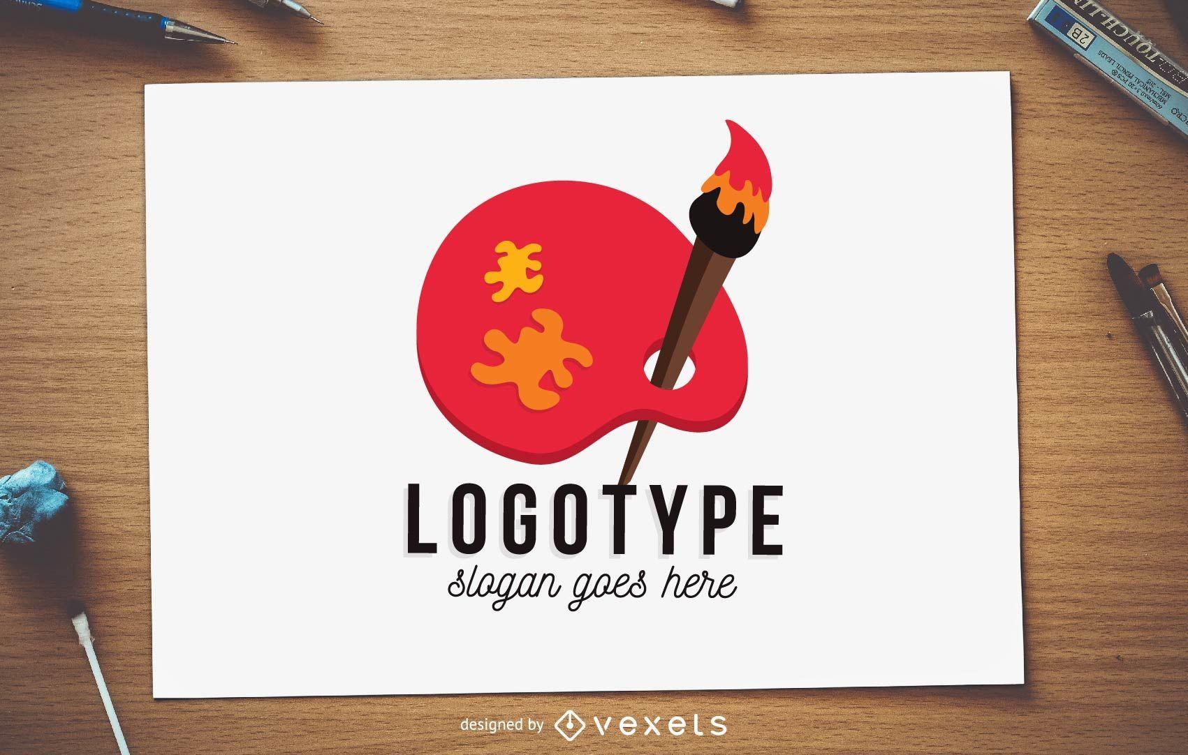 Plantilla de logotipo de pincel y paleta