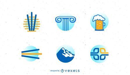 Vários negócios logotipo conjunto