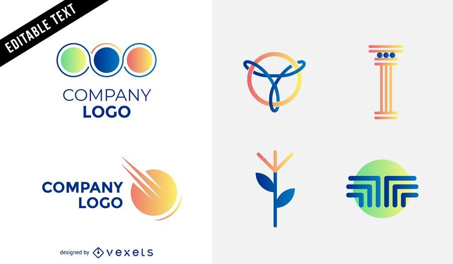Abstract various logos with shapes