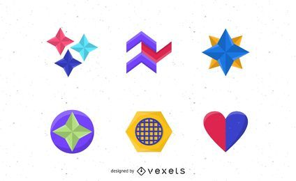 Colorful abstract shapes set