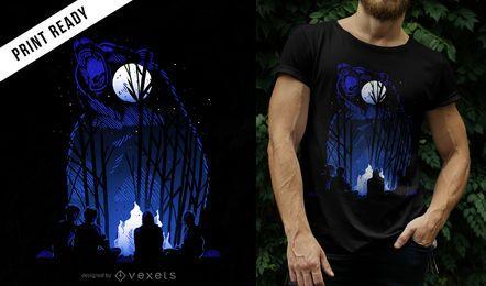 Design de camiseta do urso da floresta