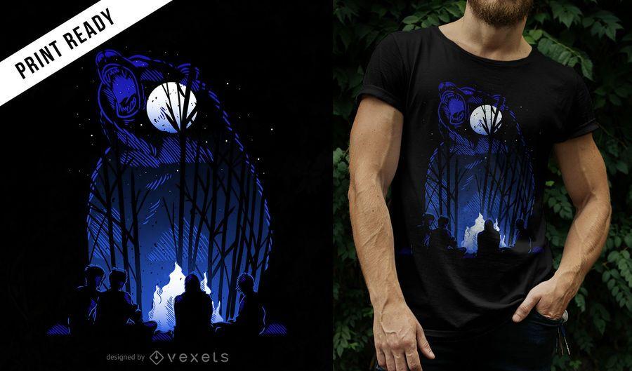 Projeto do t-shirt do urso da floresta