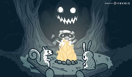 Animals campfire cartoon