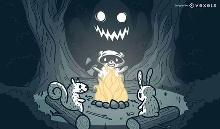 Dibujos animados de fogata de animales