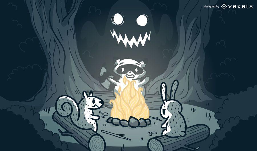 Animals campfire cartoon