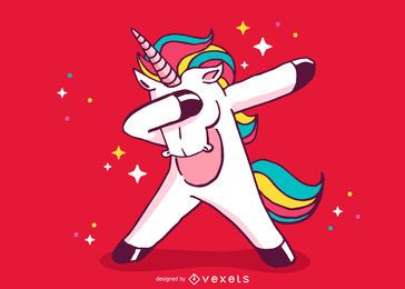 Unicorn dabbing cartoon