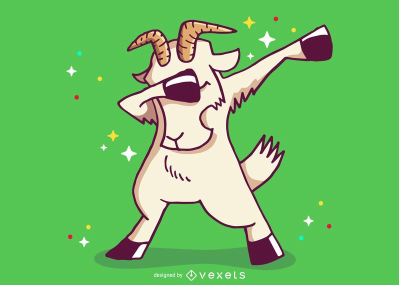 Goat dabbing cartoon