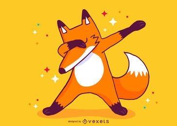Fox dabbing cartoon